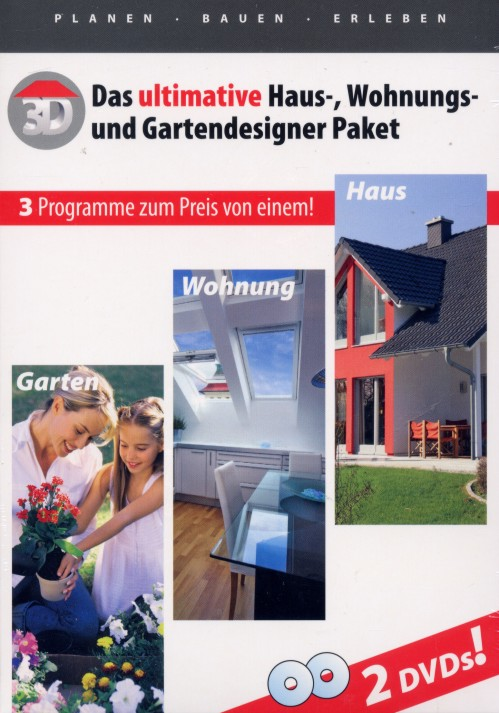 haus garten wohnungs planer in 3d 2 dvd designer pack 3d garten 8 0 deluxe ebay. Black Bedroom Furniture Sets. Home Design Ideas